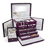 Kendal LEATHER JEWELRY BOX CASE STORAGE ORGANIZER WITH TRAVEL CASE AND LOCK (Purple) (Color: Purple)