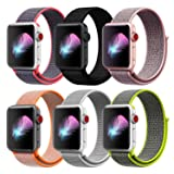 HILIMNY Compatible with for Apple Watch Band 40mm, Soft Nylon Sport Loop, Band Compatible with for iwatch Series 4, Series 3, Series 2, Series 1 (40mm, 6 Pack) (Color: Z-Pack of 6(2-color as picture), Tamaño: 40mm)