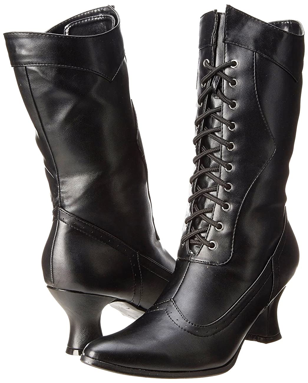Ellie Shoes Women's Amelia Victorian Boots Black Polyurethane Vintage Ankle Boot with Zipper 6