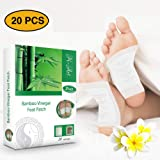 H-Art FDA Certified Foot Pads, 2in1 (20pcs) - Pain Relief, Antistress, Body Cleansing and Sleep Better - 100% Organic Foot Patches - New 2019 Formula (Color: Foot Pads, Tamaño: Medium)