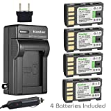 Kastar Battery (4-Pack) and Charger Kit for JVC BN-VF808 BN-VF808U and GR-D771 GR-D775 GR-D790 GR-D793 GR-D796 GR-D850 GR-D851 GR-D853 GR-D870 GR-D875 GR-DA30 GS-TD1 GY-HM70 GY-HM100 GY-HM100U