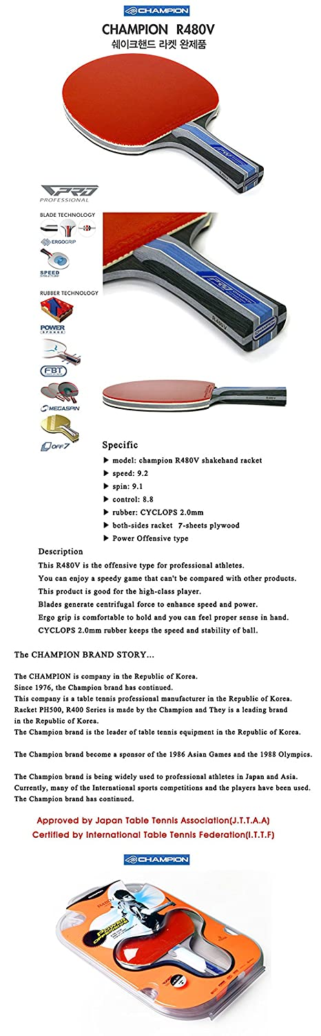 Champion R480V Table Tennis Racket Shakehand Two-Sided 7-Sheet Plywood Athletes big creative simulation fox model polyethylene