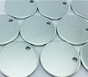 100 Pieces Aluminum Stamping Blanks by Craftbox. 1-Inch Round with Hole,12-Gauge (0.08 Thick). Soft Temper, Deeper Impressions. Includes Cute Plastic Storage Case (Color: Silver, Tamaño: 1 Inch)