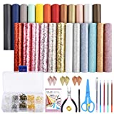 Caydo 24 Pieces Leather Earring Making Kit Include Instructions, 4 Kinds of Faux Leather Sheet and Tools for Earrings Craft Making Supplies