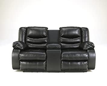 Linebacker DuraBlend Upholstered Black Double Reclining Loveseat With Console