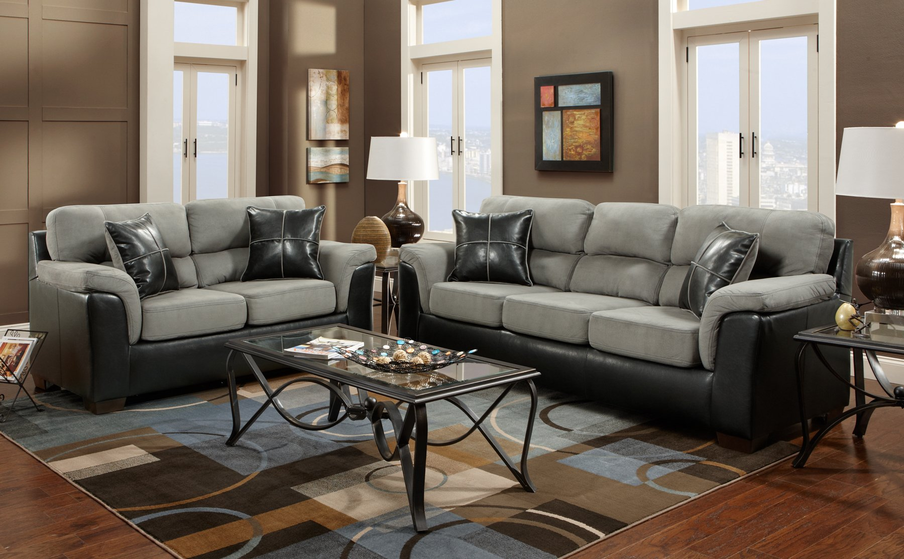 Roundhill Furniture Laredo 2 Toned Sofa And Loveseat