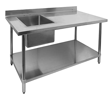 "ACE Stainless Steel Commercial Prep. Table w/ 4"" Rear Upturn & Left Side Sink Bowl, 30""W x 48""L x 35""H, ETL Certified, WT-PS3048L"