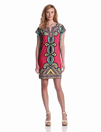 laundry BY SHELLI SEGAL Women's T-Body Drop Sleeve Printed Dress, Risque Multi, X-Small
