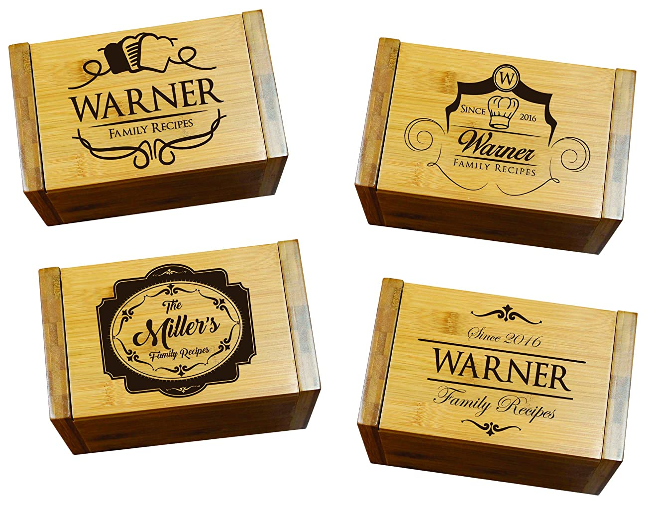 Engraved Recipe Box 4x6 Card Holder - Personalized Custom Gifts For Mom - Kitchen Cooking Gift 2
