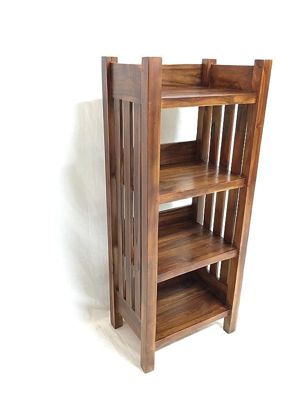 Libreria Minimal Legno Teak Massello Arredamento Etnico Pensili Credenza 4 ripiani mobile cucina Porta Pane Frutta