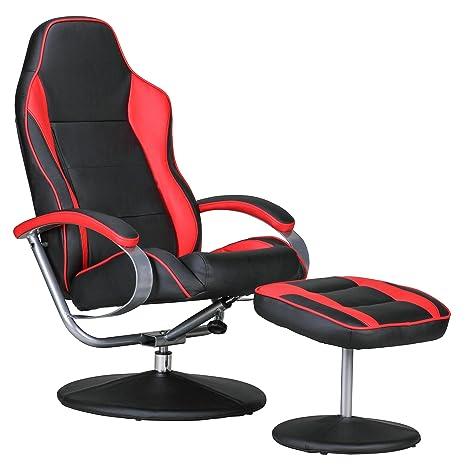 Amstyle SPM1.264 Sporting Fernseh Relaxsessel drehbar mit Hocker, schwarz / rot