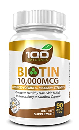 Pure Biotin 10,000 MCG - Maximum Strength Vitamin B-complex Supplement to Reduce Hair Loss, Improve Hair, Skin and Nail Health for Women and Men- 3 Month Supply- By 100 Naturals