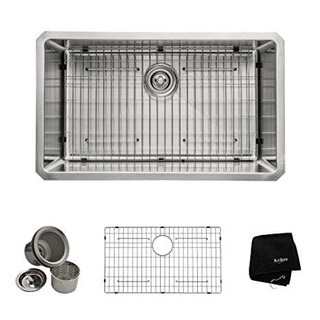 KRAUS KHU100-30 30-inch 16 Gauge Undermount Single Bowl Stainless Steel Sink