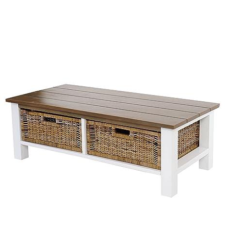 Couchtisch Tula, Wohnzimmertisch Beistelltisch Holztisch, 38x112x52cm 2 Körbe