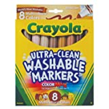 Crayola Multicultural Colors Broad Line Washable Markers, Art Tools 8 ct. Case of 24 (Tamaño: 24-Sets)