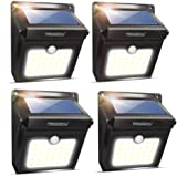 Neloodony Solar Lights Outdoor, Wireless 28 LED Motion Sensor Solar Lights with Dark Sensing Auto On/Off, Easy Install Waterproof Security Lights for Front Door, Back Yard, Driveway, Garage (4 Pack) (Tamaño: 4-Pack)