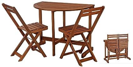 Platzsparendes Gartenmöbel Set - Klapp Balkonmöbel Garnitur Akazie Massiv