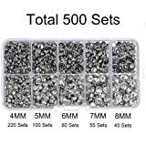 500 Sets Cz White Clear Crystal Rivets Rapid Rhinestone Silver Color Stud Rivets fit for DIY Leather-Craft and Garment (Mixed 01) (Color: Silver Base with White Clear Crystal, Tamaño: Mixed 01)