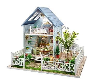 Kit DIY de maison de poupées en bois, modèle villa de forêt, avec boîte à musique