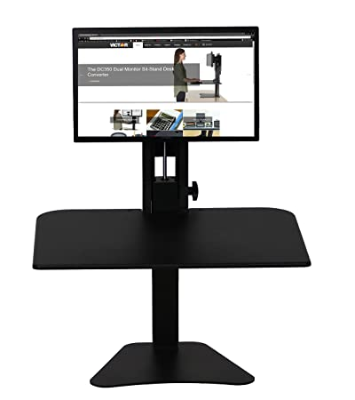 "Victor DC300 High Rise Collection Sit-Stand escritorio convertidor, 28 ""X 23"" X 15.5 "", negro (vicdc300), color negro Single Monitor"