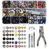 HOMEIDOL Snap Fastener Kit 12 Colors, 150 Sets Metal Snap On Buttons Set Press Studs with Fixing Tools for Thin Leather Bracelet, Shirt, Skirt, Jacket, Jeans, Bags Repair and Decoration (Color: multicolored, Tamaño: 155PCS)