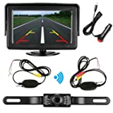 Emmako Rear View Camera Wireless and Monitor Kit 9V-24V Backup Camera System with 7 LED IR Night Vision Waterproof 4.3 Display Guild lines for Car/ Vehicle