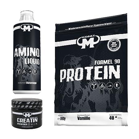 MAMMUT Formel 90 Protein (1000g Beutel / Vanilla Flavour) + MAMMUT Amino Liquid (1000ml Flasche / Blood Orange Flavour) + MAMMUT Creatin Monohydrat (300g Dose / Standard Flavour)
