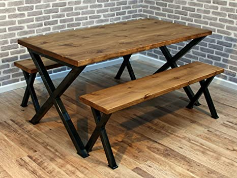 Dorket Rustic Industrial Reclaimed Wood Dining Table Metal X frame 140 x 80cm UK made (Table x2 Bench)