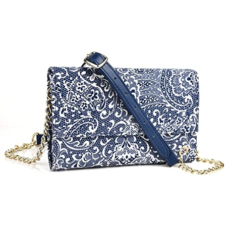 Midnight Blue Paisley Weekender Crossbody Bag For Microsoft Lumia 950 5.2, 950 Xl 5.7, Lumia 640, Lumia 550, Lumia 540, Lumia 535, Nokia Lumia 830 | C available at Amazon for Rs.6724