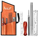 Katzco 8 Piece Chainsaw Sharpener File Kit - Contains 5/32, 3/16, 7/32 Inch Files, Wood Handle, Depth Gauge, Filing Guide, Tool Pouch - for Sharpening & Filing Chainsaws & Other Blades (Tamaño: Sharpener)