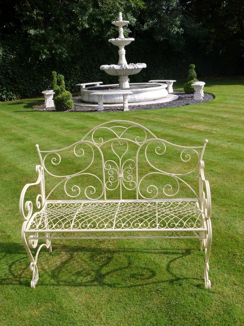 Shabby Chic Cream Wrought Iron Garden Bench French Style 112cm Ebay