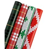WRAPAHOLIC Gift Wrapping Paper - Plaid, Knit Heart, Knit Tree Design for Gift Wrap - 4 Rolls - 30 inch X 120 inch Per Roll (Color: 03 Plaid)