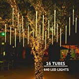 MAOYUE Meteor Shower Lights 16 Tubes 640 LED Icicle Lights Falling Rain Lights Outdoor Christmas Lights for Holiday Decorations, Christmas Decor, Tree, Eaves, Roof, Yard, Garden, Warm White (Color: white)