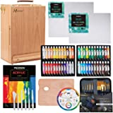 MEEDEN 70-Piece Premium Acrylic Painting Set - Solid Beech Wood Easel box, 48 Colors Acrylic Paint (22ml) and All The Additional Supplies, Perfect Gifts for Beginning Artists, Students and Kids
