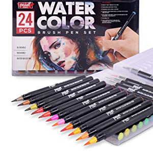 Paintmark Real Brush Pens, 24 Colors for Watercolor Painting with Flexible Nylon Brush Tips, Calligraphy and Drawing with Water Brush, Paint Markers for Coloring (Tamaño: 24 Pack)