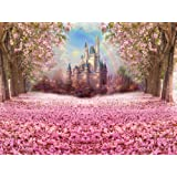 Muzi Photography Backdrop Fairy Tale Castle Beautiful Pink Woods Children Princess Girls Photo Booth Backdrop Studio Props with Flowers on the Floor in Spring 6.5x5ft W-314 (Color: W-314)