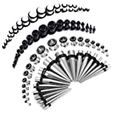 BodyJ4You 72PC Gauges Kit Black White Acrylic Plugs Stainless Steel Tapers 14G-00G Ear Stretching Set (Color: Black and White)