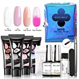 Modelones Poly Nail Gel Kit Mini French Enhancement Builder Color Changing Acrylic Extension for Travel - Including 4 Colors, Brush Pen, Slip Solution, Nail File, Dual Forms Set for Starter (Color: #1 Mini Poly Nail Gel Kit)
