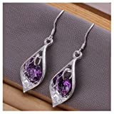 NYKKOLA Beautiful Fashion 925 Solid Silver Teardrop Amethyst Hook Earrings