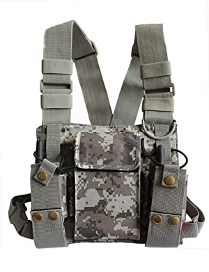 Lewong Universal Hands Free Chest Harness Bag Holsterfor Two Way Radio (Rescue Essentials) (Camouflage) (Color: Camouflage)