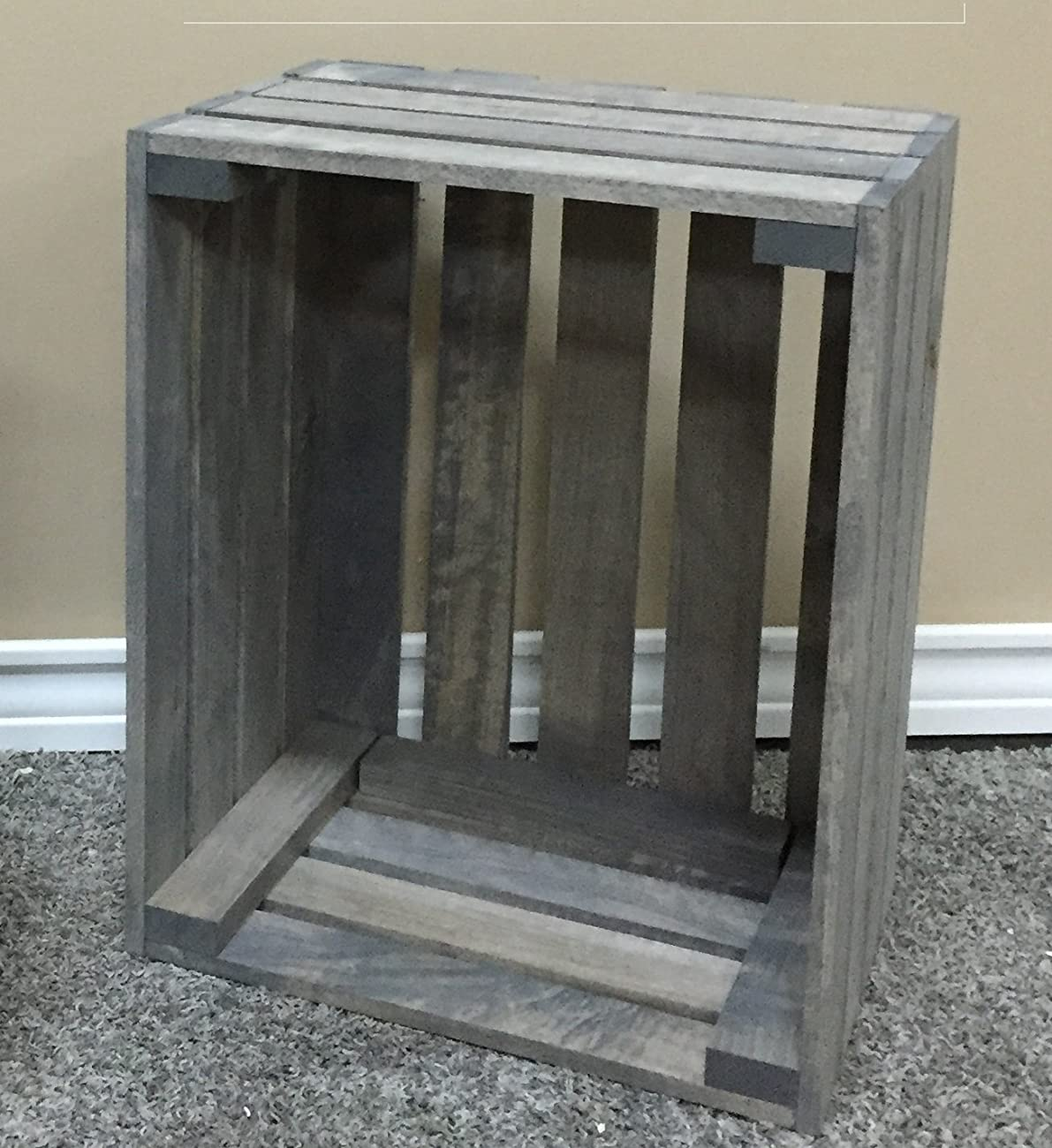 Antique Gray Stained Rustic Wood Crate 1