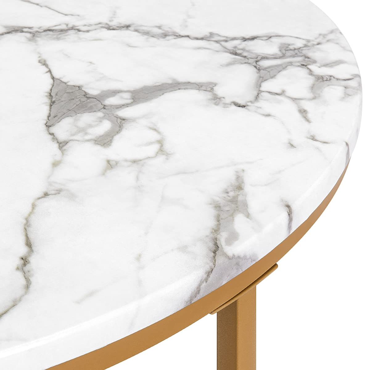 Best Choice Products 36in Modern Living Room Round Faux Marble Top Coffee Accent Side Table w/Metal Legs - White/Gold