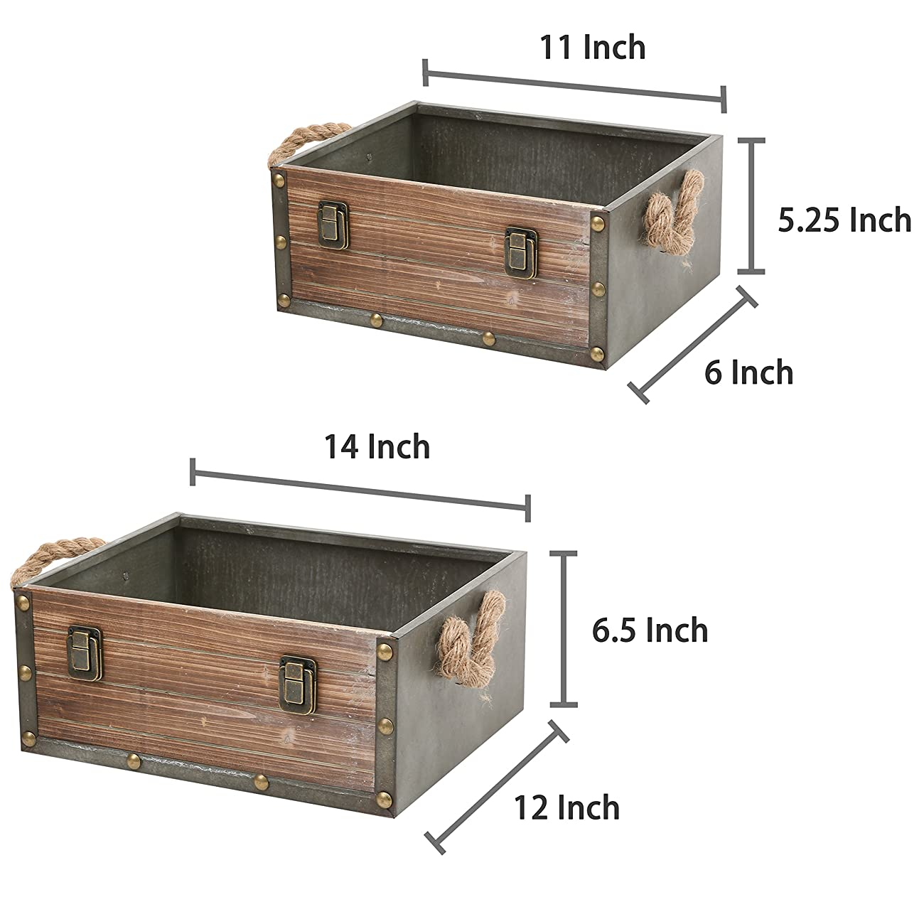 MyGift Set of 2 Wood Crates w/ Rope Handles, Rustic Nesting Storage Boxes, Brown 5