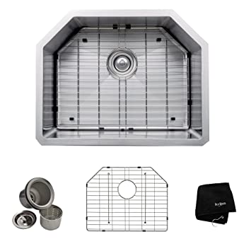 Kraus KHU122-23 23 inch Undermount Single Bowl 16 gauge Stainless Steel Kitchen Sink