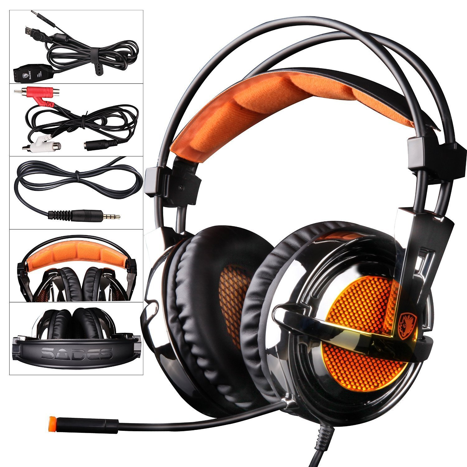 GW SADES SA928 Pro Surround Sound Stereo Wired PC Gaming Headset Over-the-Ear Headband Headphones with Microphone volume control for XBOX/PS3/PC/Mobile Phone/iphone/ipad/Music(Black&Oriange)