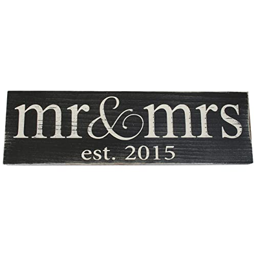 Mr & Mrs Est. 2015 Vintage Wood Sign for Wedding Decoration Prop Gift or Wall Decor -- PERFECT WEDDING GIFT!
