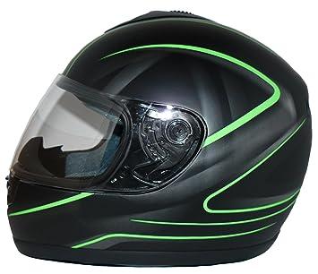 Protectwear V190-SG-S Casque de Moto Intégral avec un design Vert, Noir Mat, Taille S