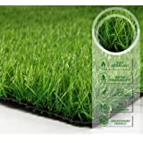 PZG Premium Artificial Grass Patch w/ Drainage Holes & Rubber Backing | 4-Tone Realistic Synthetic Grass Mat | 1.6-inch Blade Height |Extra-Heavy & Soft Pet Turf | Lead-Free Fake Grass for Dogs or Outdoor Decor | Size: 40