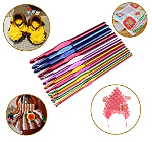 StaiBC Multicolor Aluminum Crochet Hooks Set, Knitting Needles Craft Yarn Plus Large-Eye Blunt Needles Yarn Knitting with Case, USA Standard Sizes 2.0-10.0mms