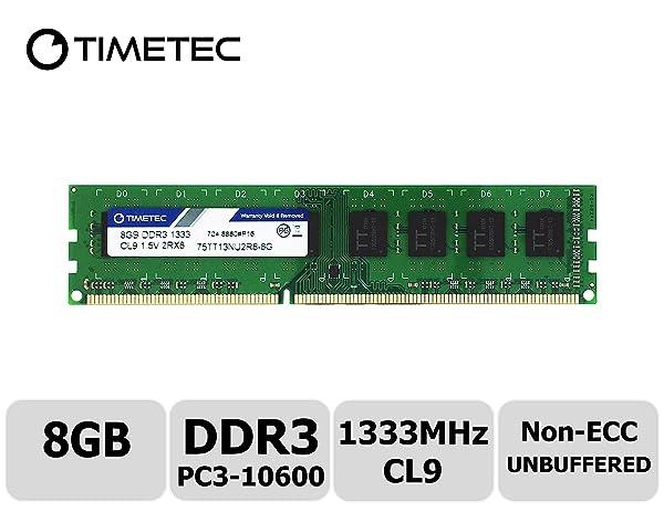 Timetec Hynix IC 8GB DDR3 1333MHz PC3-10600 Unbuffered Non-ECC 1.5V CL9 2Rx8 Dual Rank 240 Pin UDIMM Desktop Memory Ram Module Upgrade (8GB) (Tamaño: 8GB)
